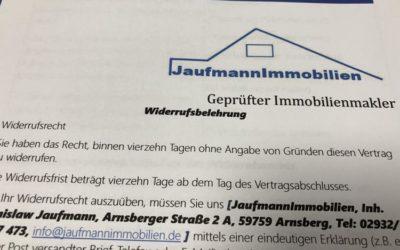 Warum Sie vor der Hausbesichtigung eine Widerrufsbelehrung von Immobilienmakler erhalten